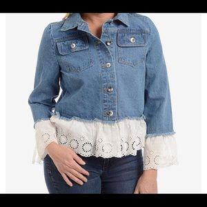 Women's Denim Jacket White Cotton Eyelet Trim
